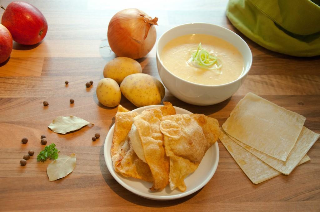 Rhöner Kartoffelsuppe mit knusprigen LeberwursttaschenLowQ
